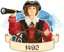a portrait of christopher columbus dated 1942 in his ship stock