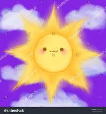 cute cartoon smiling sun clouds sky stock vector 291895589