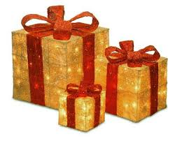 lighted gift boxes christmas decorations set of 3 sparkling gold sisal gift boxes lighted