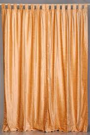 peach tab top velvet curtain drape panel 43w x 84l piece