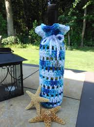wine bottle cover with nautical theme beach or boating gift for