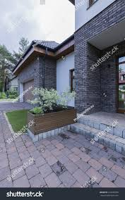 modern front house entrance paving stone stock photo 618428789