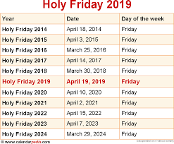 when is holy friday 2019 2020 dates of holy friday