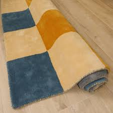 Cream And Grey Rug 120 X 160cm Cotton Blox Hand Tufted Rug In Blues Gold Cream And Grey