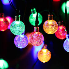 outside solar string lights globe outdoor crystal ball 30 led
