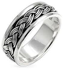 silver ring for men bling jewelry engravable men braided band two toned sterling