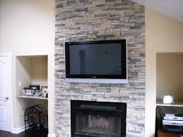 stacked stone tile fireplace surround round designs