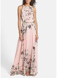 dress pale pink floral print sleeveless halter style neckline