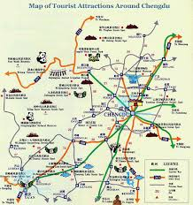 Montana Travel Maps images Detailed map of tourist attractions around chengdu mt qingcheng jpg