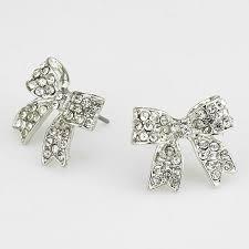 bow earrings silver bow earrings