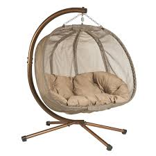 Indoor Hammock With Stand Island Bay Samos Resin Wicker Hanging Egg Loveseat With Cushion