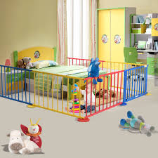 Room Divider For Kids by Baby Playpen 8 Panel Colors Wooden Frame Children Playard Foldable