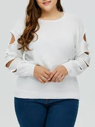 cut out plus size crew neck sweater white xl in plus size