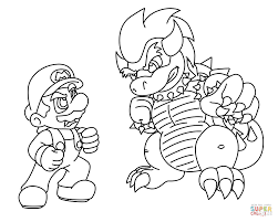 mario vs bowser coloring page free printable coloring pages