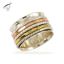 spinner rings stacked spinner rings on hammered silver ring marmoit