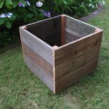 Diy Patio Planter Box Rustic Reclaimed Wood Planter Box 30x30 And Add Lockable Wheels