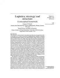 conceptual framework sample thesis logistics strategy and structure a conceptual framework pdf logistics strategy and structure a conceptual framework pdf download available