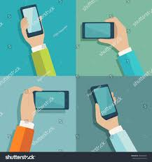 mobile gadgets hands different positions vector stock vector