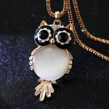 long chain crystal necklace images Long chain gold necklaces pendant crystal owl cubic zircon diamond jpg