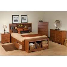 full size cherry storage bed with bookcase headboard