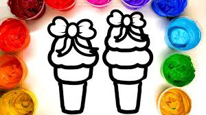 coloring and painting pretty ice cream cones painting page