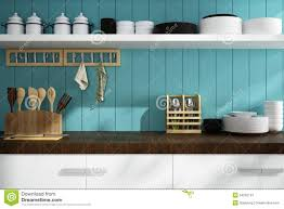 Turquoise Kitchen Accessories by Closeup Of Counter And Kitchen Accessories Stock Illustration