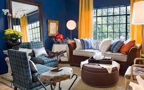Yellow Walls What Colour Curtains Elegant Blue And Yellow Living Room View In Gallery Small And