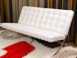 Contemporary Leather Loveseat Furniture White Button Tufted Leather Modern Loveseat With Fur