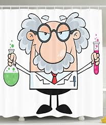 Shower Curtain Chemistry Amazon Com Novelty Fun Shower Curtain Phd Gifts Einstein Cartoon