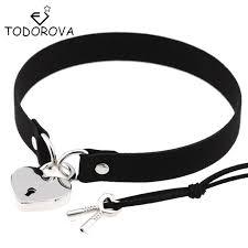 leather choker collar necklace images Todorova gothic punk harajuku heart lock velvet leather choker jpg