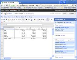 Create A Doc Spreadsheet Yes Pivot Table Reports Are Available In Docs Techrepublic
