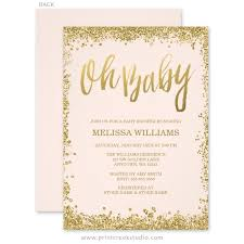 oh baby blush pink gold glitter baby shower invitations blush
