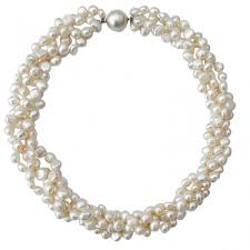 round necklace clasp images White baroque pearl four strand chunky necklace with round silver jpg