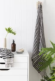 turkish black and white pom pom hand towel koku designs