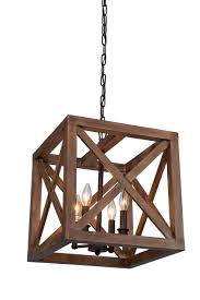 Wood Pendant Light 4 Bulbs Walnut Collingwood Chandelier Wood Pendant L Lighting