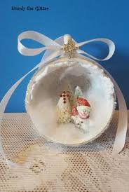 vintage christmas ornaments with bottle brush tree and snowman