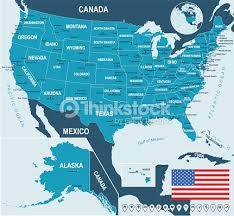 united states map with labels of states and capitals united states map flag and navigation labels illustration vector