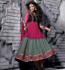 Pink Colour Combination Dresses by Smart Color Combination Designer Shaded Party Wear Anarkali Dress