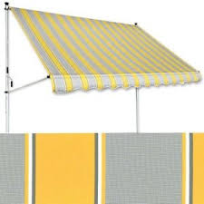 balkon markise ohne bohren klemm markise 2 x 1 2 m gelb grau balkonmarkise spannmarkise
