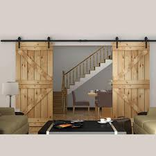 2017 8ft double sliding barn door hardware rustic black arrow