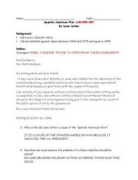 american war de lome letter adapted worksheet and answer key