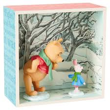 Winnie The Pooh Home Decor by Winnie The Pooh And Piglet In Snow Shadow Box Decorative
