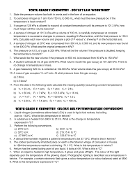 The Ideal And Combined Gas Laws Worksheet Answers Sch3u Grade 11 Chemistry Boyle U0027s Law Worksheet