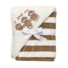 Sock Monkey Bedding Amazon Com Baby Starters Sock Monkey Striped Blanket Tan Baby