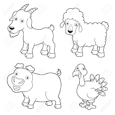 illustration farm animals cartoon coloring book royalty free