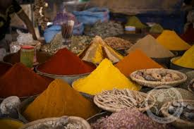 spices and dyes in the market picture of desert trips