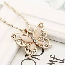long butterfly necklace images 2018 rose gold opal butterfly pendant necklace sweater chain long jpg