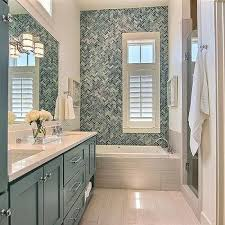 Blue Glass Herringbone Shower Backsplash Tiles Design Ideas - Shower backsplash