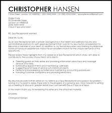 spa receptionist cover letter sample livecareer