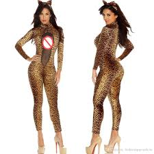 mesh catsuit leopard bodycon slim jumpsuit